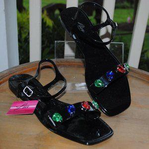NWT NIB Jelly Sandal BLACK Gems Crystals